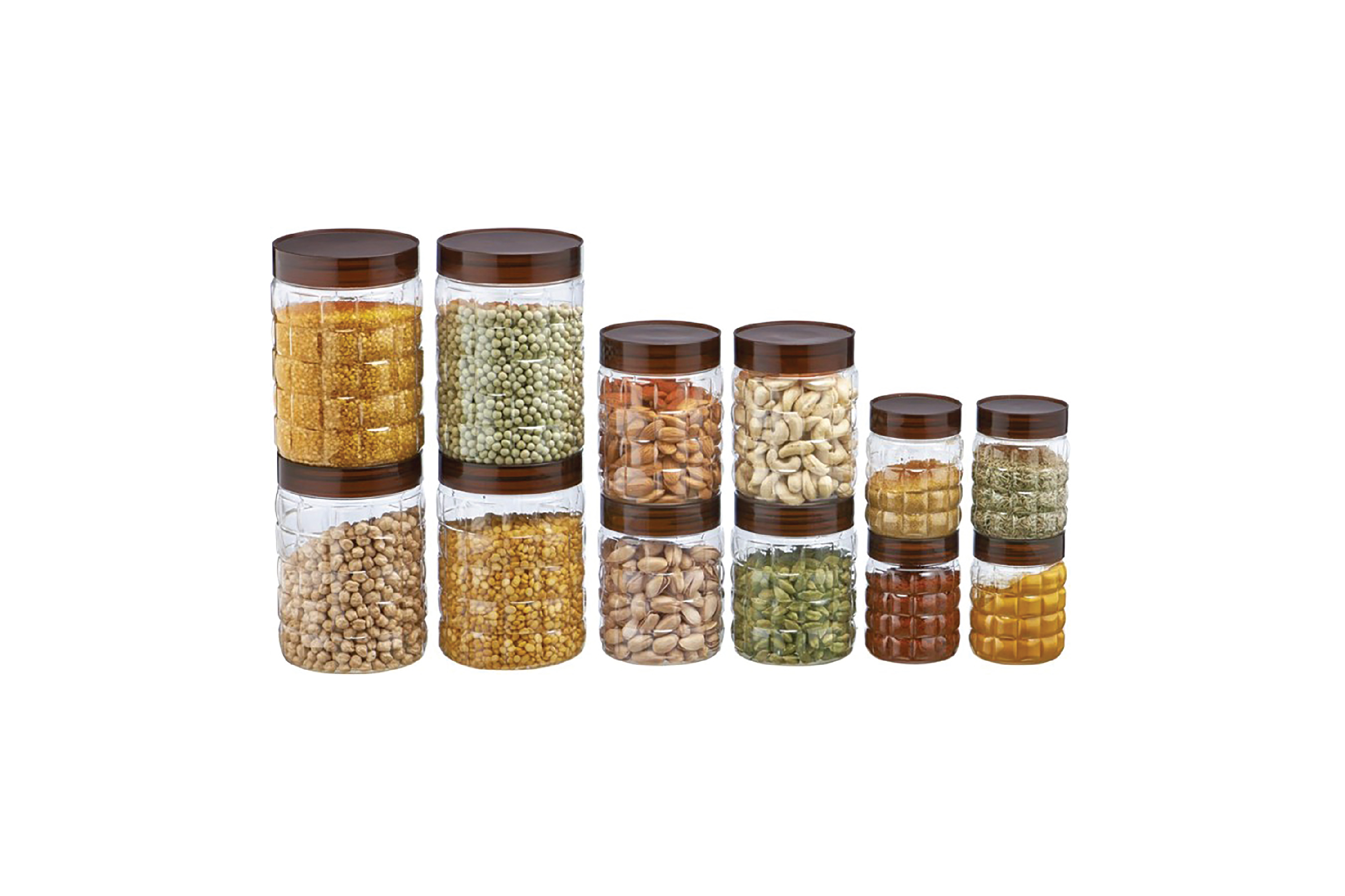 Steelo Steelo 12 pcs PET Container Set - 300ml x 4, 600ml x 4, 1200ml x 4 (Solitaire) - 300 ml, 600 ml, 1200 ml Plastic Food Storage