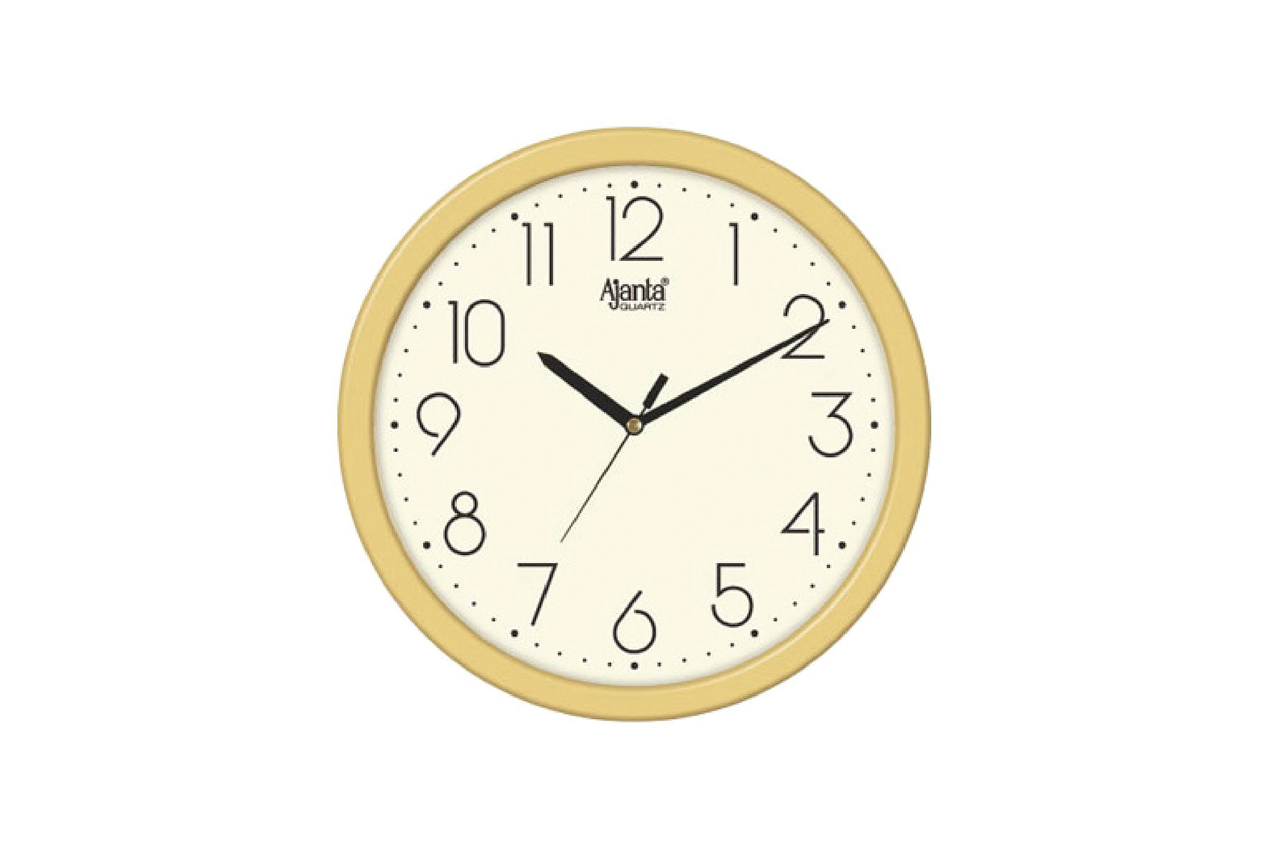 Ajanta Quartz Golden Ring Plastic Wall Clock-497